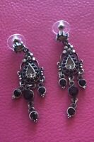 Faux Black Onyx & Silver Toned Dangle Statement Earrings With Floral Drop Design