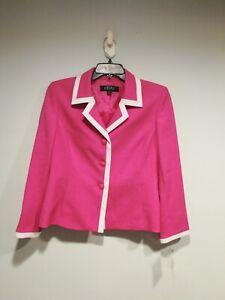 KASPER Womens Size 12 Petite Pink Button Down Blazer Jacket with White Trim