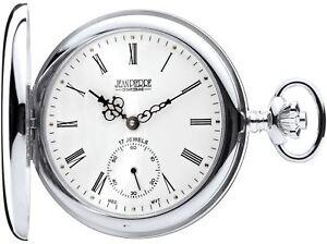 Sterling Silver Pocket Watch Full Hunter 17 Jewel Mechanical Movement Luxury
