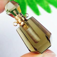 M22886 Natural Smoky Quartz Charm Essential Oil Diffuser Bottle Pendant