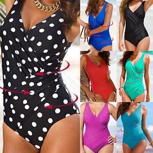 Plus Size Womens Wrap Tummy Control Swimsuit One Piece Bikini Monokini Swimwear
