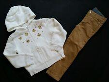 Gymboree Girls Snow Glamour Size 5 Gold Ivory Hood Sweatshirt Corduroy Pants Zip