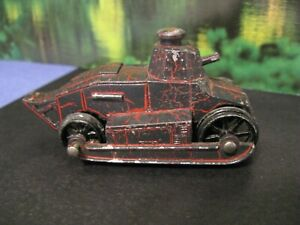 Tootsietoy Tank 1920's Original Brown & Red 'Crackle' Paint Black Wheels