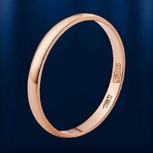 RUSSIAN SOLID 14K (585)  ROSE GOLD WEDDING BAND RING MENS WOMEN 2.2mm All sizes!