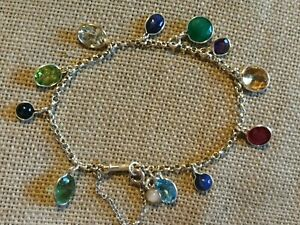 Solid 925 sterling silver traditional charm bracelet Natural multi gemstone