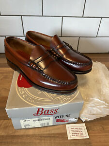 G H Bass USA Weejuns Cognac Beefroll Brown Leather Loafers Slip On Shoes UK 7.5