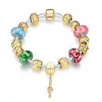 Damen Armband Bettelarmband Beads bunt Charms 20cm pl. mit Sterlingsilber/Gold