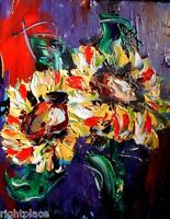 SUN FLORAL STILL LIFE   MODERN ABSTRACT ORIGINAL OIL PAINTING  0IYfgn
