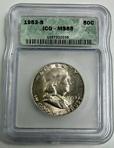 1953-S Franklin Half Dollar ICG-Graded-Ms65