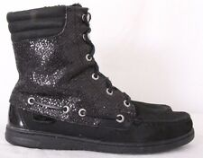 Sperry Top-Sider Black Lace Up Moc Toe Sequin Winter Ankle Boots Women's US 7.5M