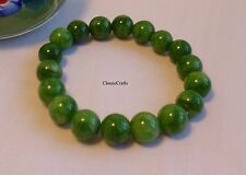 Genuine Natural Green Han Jade (cold jade) 10mm round beads bracelet