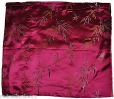 New Embroidered Magenta Satin Cushion Covers Chinese Bamboo Pattern Zip Up  M8M