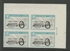 Guernsey SARK 1966 Churchill 3s plane Viscount PROOF INVERTED Ovpt block 4