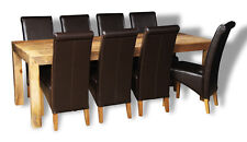 DAKOTA LIGHT 220CM DINING TABLE AND 8 ROLLBACK CHAIRS (16L&8A1LR)