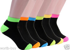 New 6 Pairs Womens Girls Ankle Socks Multi Neon Color 9-11 Black Pink Green Blue