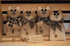 4 Primitive Muslin CAT Ornie Filler Tucks Folk Art Shelf Sitter Make Do's KITTEN