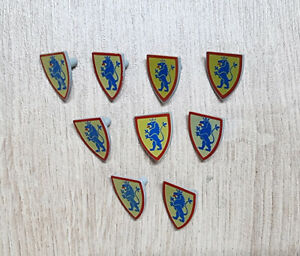LEGO Castle Minifigure Shield Triangular with Lion Standing Blue on Yellow x 9
