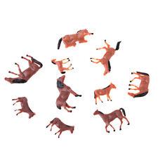 10Pcs 1/87 HO Scale Horses Model Painted Animal Figure Layout Architecture