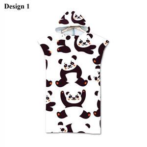 Cute Panda Bear Hearts Hooded Poncho Towel Swim Bath Beach Changing Robe Gift