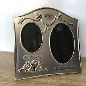 Silver Curved Antique 60th Anniversary Double Oval Picture Mount Photo Frame