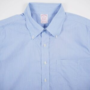 Brooks Brothers Classic Mens Size 16.5 Blue Striped Button Up Short Sleeve Shirt