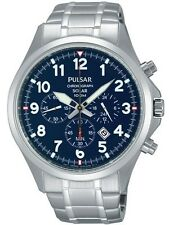 Pulsar Men's PX5037 Solar Chronograph Analog Display Blue Dial Silver Watch
