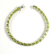 6x4 MM Natural Green Peridot Gemstone 925 Sterling Silver Tennis Bracelet 7.25