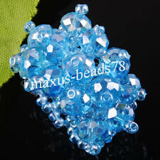 Sky Blue Crystal Faceted Beads Stretch Finger Ring MJ127