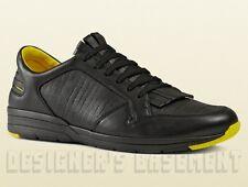 GUCCI Mens 9.5G* black leather Yellow trim BRAVA fringed sneakers NIB Auth $650