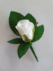 1x White Silk Rose Groom, Groomsmens or Corsage Wedding Bridal Flower Buttonhole