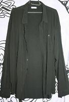 "FOSSEY'S AUSTRALIA Black Rayon Shirt XXL? Pit-to-Pit 28"" L32"" OVERSIZE BIG/TALL"