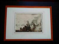 Rare impression dessin Victor Hugo Le Chateau fantastique encadrée parfait état