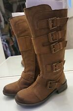 Brown Leather Tall Buckle/Biker Boots - Womens size 8