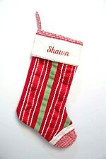 """NWT Pottery Barn Red 20x11 Cuff Christmas Stocking """"Shawn"""" Velvet Ribbons"""