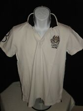 "RARE ZARA MAN EMBROIDERED ""BRITISH CUP 1958"" WHITE COTTON PIQUE S/S POLO SZ. S"