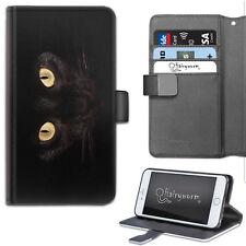 Spooky Halloween Black Cat Eyes PU Leather Wallet Phone Case, Flip Case