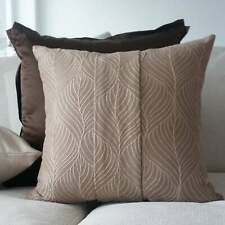 SALE Set of 2 embroidered throw pillow covers 16x16'' Taupe Beige Linen Cushion
