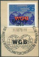 DDR Mi.Nr. 1885 gestempelt, Briefstück, Weltgewerkschaftsbund WGB Kongress Warna