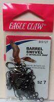 EAGLE CLAW BARREL SWIVEL W/ INTERLOCK SNAP SZ 7 QTY 12, FREE & PROMPT SHIPPING