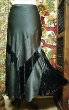 PER UNA Boho Pirate Velvet & Satin Patchwork Long Dark Green Flared Skirt UK 10