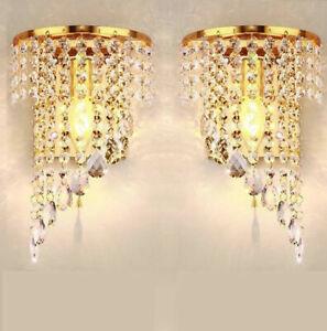 Paar Kristallwandleuchten Hochzeitsleuchter Nachttischlampe Dekorative Beleuchtu