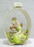Vintage Lefton Saturday Angel Girl in Oval Frame  KW6949  1955 - Made In Japan