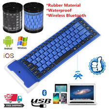Mini Flexible Wireless BT Keyboard Roll Up Foldable For Laptop PC Phone