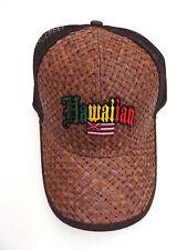 Lauhala Baseball Cap with Hawaiian Flag - Jawaiian Lettering - Brown
