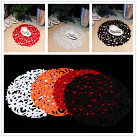 Kitchen Dinner Round Laser Cut Flower Felt Placemats Table Decor Mats 30x30cm