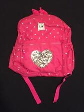 NWT GapKids Pink Sequin Heart Elementary School Size Backpack
