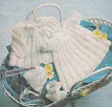 DRESS,JACKET,BONNET & BOOTEES /  3 to 6 months -  3ply - COPY crochet pattern