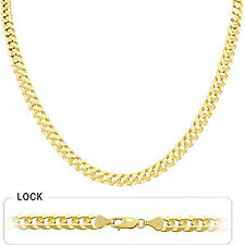 "6.90mm 22"" 32.00gm 14k Solid Yellow Gold Men Flat Cuban Polished Necklace Chain"