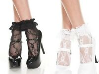 WOMEN'S Ruffle Lace Anklet Ankle High Socks with Frill Top Black White NEW UK