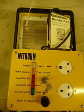 Electrical test meter METROHM model 4 P.A.T. tester + cables + yellow case